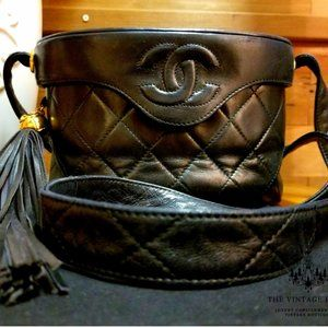 VINTAGE CHANEL CASE STYLE QUILTED CROSS BODY BAG